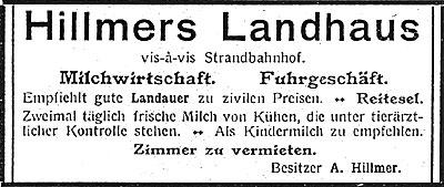 Anzeige im Informationsheft der Kurverwaltung von 1912
