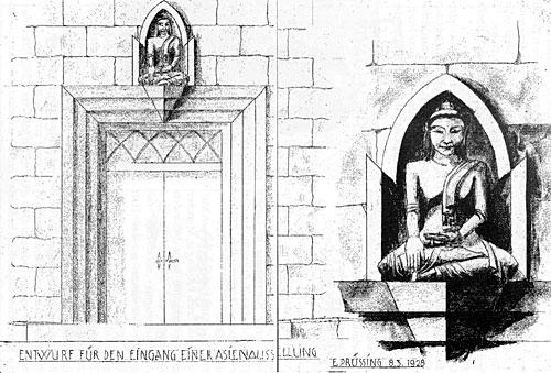 Erich Prüßing - Entwurf für den Eingang einer Asienausstellung 1928