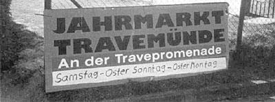Jahrmarkt-Schild in Travemünde