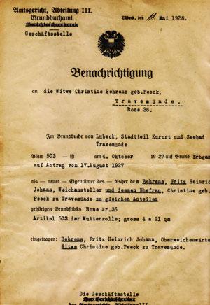 Grundbucheintrag von 1928