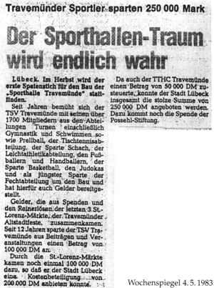 Wochenspiegel vom 04.05.1983 - Senator-Emil-Possehl-Halle